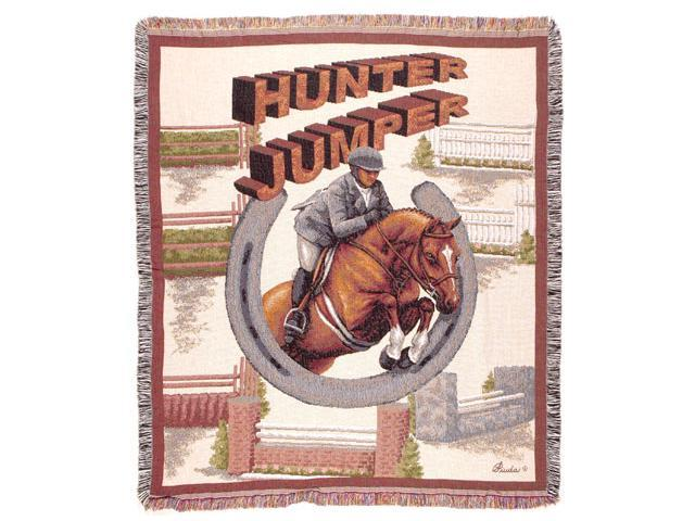 Hunter Jumper Equestrian Horse Tapestry Throw 50