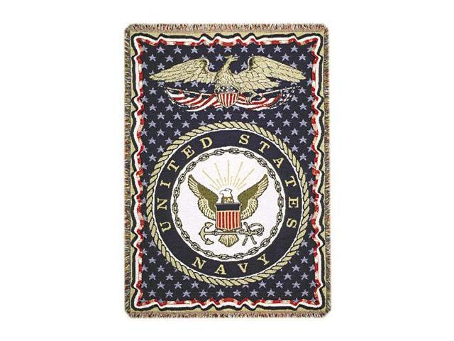 United States Navy Military 3 Layer Afghan Throw Blanket 50