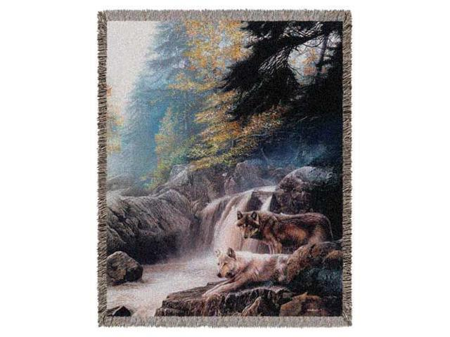 "Lonely Virgil Wolves Pictorial By Kevin Daniel Tapestry Throw 50"" x 60"""