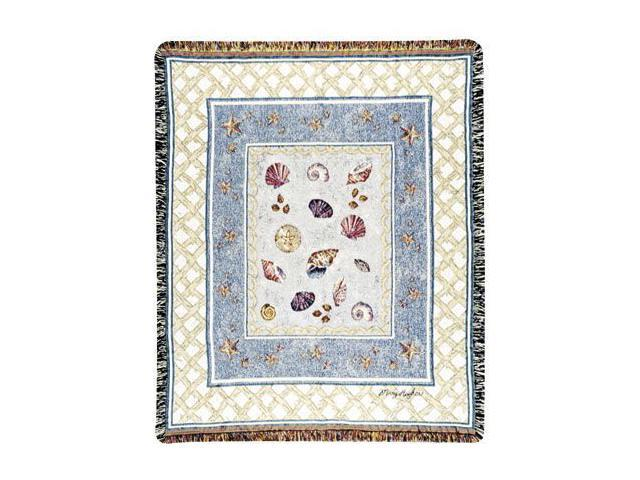 Beach Accents Colorful Seashell Collage Tapestry Throw Blanket 50