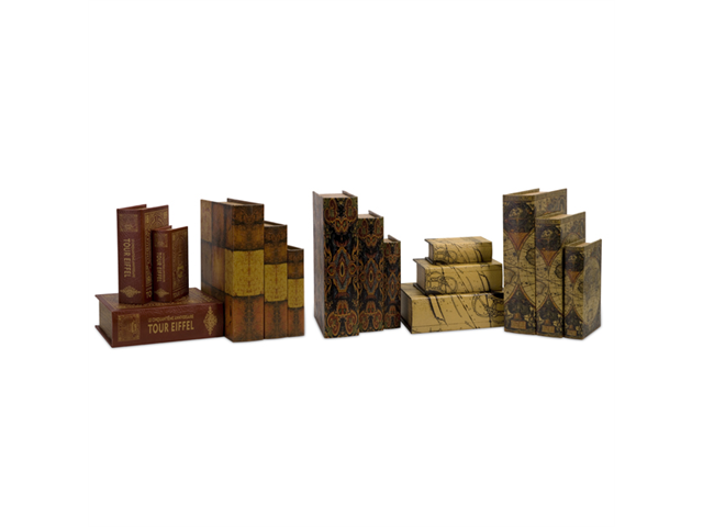 Set of 15 Novel Old-World Style Decorative Wooden Book Boxes