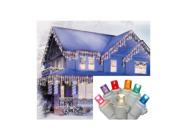 Set of 70 Multi LED Wide Angle Icicle Christmas Lights - White Wire