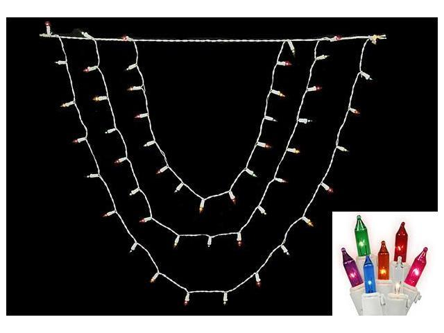 Set of 150 Multi-Color Swag Christmas Lights - White Wire