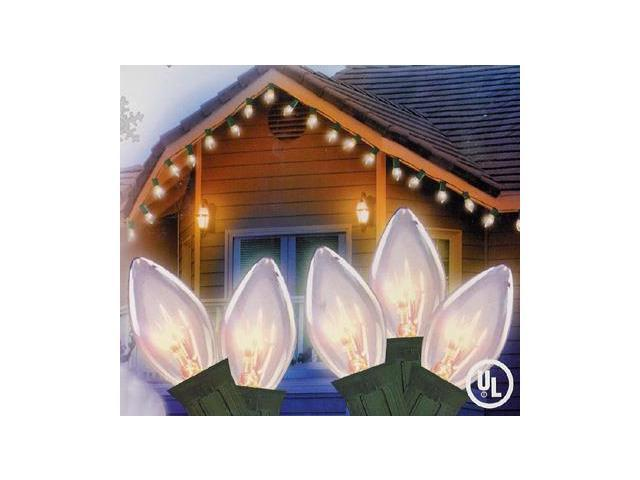Set of 25 Clear C7 Energy Saving Christmas Lights - Green Wire