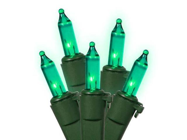 Set of 50 Teal Mini Christmas Lights - Green Wire