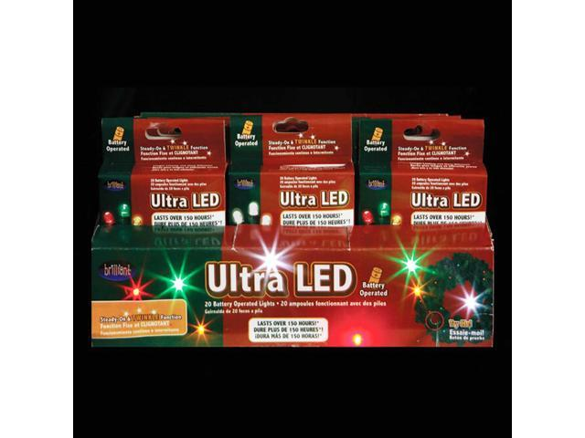 24 LED Battery Operated Micro Christmas Light Sets - Multi-Colored & White Bulbs