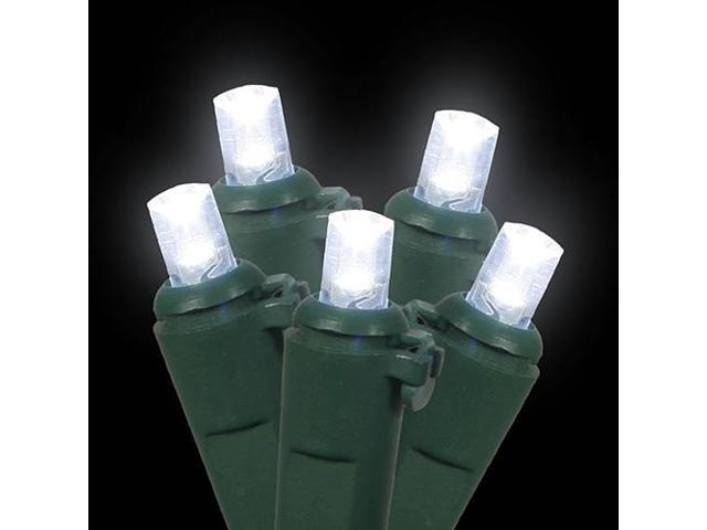 Set of 60 Cool White LED Wide Angle Christmas Lights - Green Wire