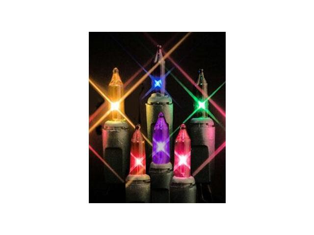 Set of 35 Multi-Color Mini Christmas Lights - Green Wire
