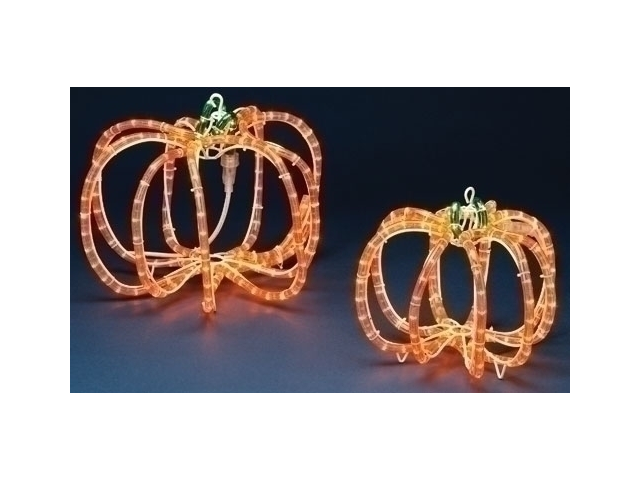 Set of 2 Pre-Lit Halloween Rope Lighted 3-D Outdoor Pumpkin Decorations