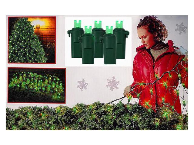 4' x 6' Green LED Wide Angle Net Christmas Lights - 120 Lights Green Wire