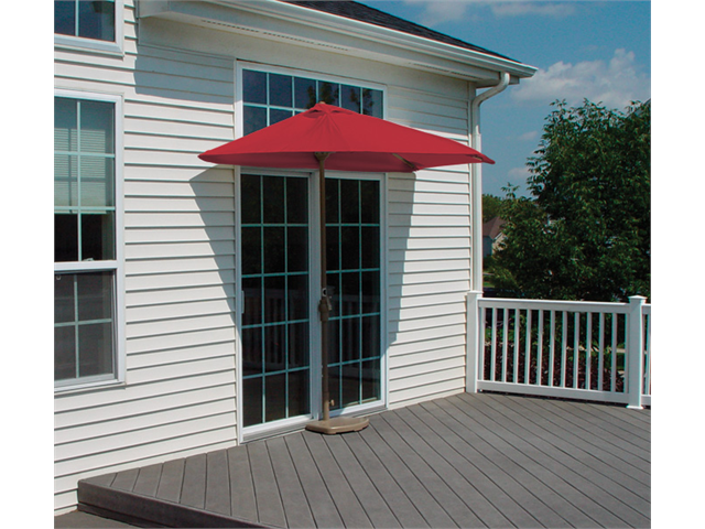 9' Half Canopy Patio Market Umbrella: Red - Sunbrella