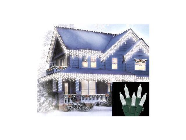 Set of 70 LED Pure White M5 Icicle Christmas Lights - Green Wire