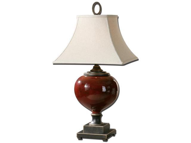 """33"""" Distressed Burgundy Ceramic, Bronze & Off-White Square Bell Shade Table Lamp"""