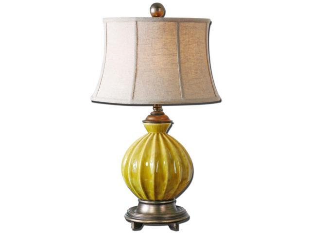 "30"" Burnt Yellow Ceramic, Antiqued Silver & Oatmeal Round Bell Shade Table Lamp"