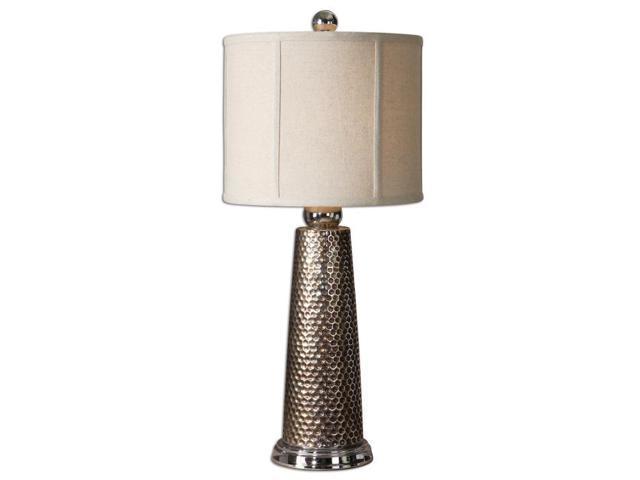 """28"""" Nickel Honeycomb, Bronze & Ivory White Round Drum Shade Buffet Table Lamp"""