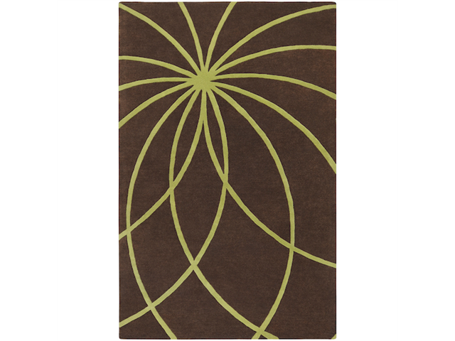2' x 3' Plasma Elektra Contemporary Moss Green and Brown Wool Area Throw Rug