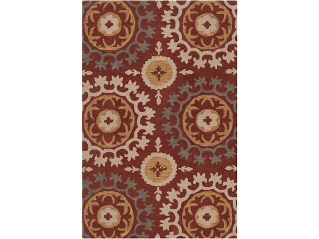 3.25' x 5.25' Spice Medallion Cinnamon, Fatigue Green and Khaki Wool Throw Rug