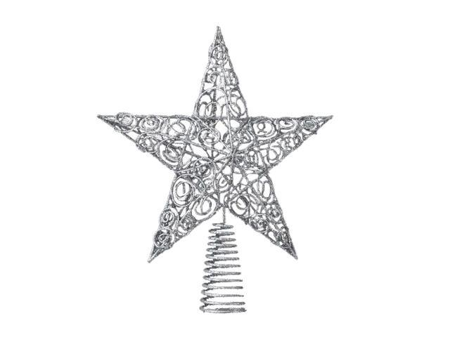 Club Pack of 12 Silver Glittered Wire Filigree Star Christmas Tree Toppers 10