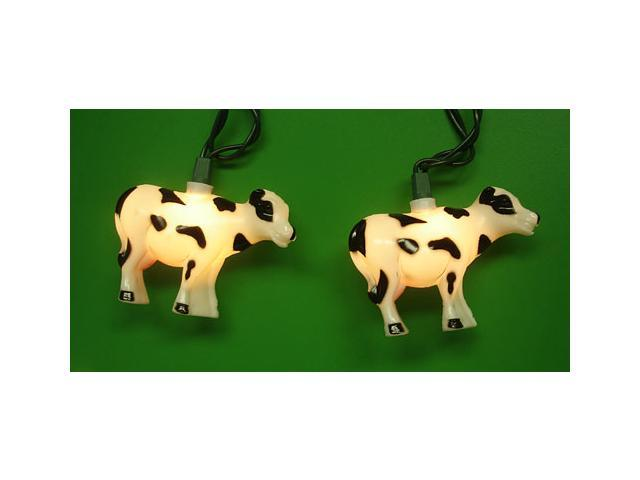 Set of 10 Farm & Country Cow Novelty Christmas Lights - Green Wire