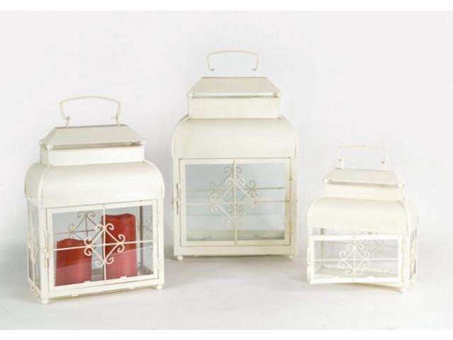 Set of 3 Farm Fresh Antique White Glass and Metal Pillar Candle Lanterns