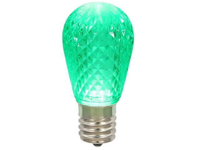 Pack of 12 LED 11S14 Green Replacement Christmas Light Bulbs - E26 Base