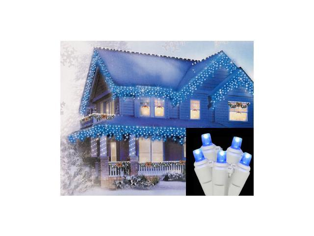 Set of 70 Blue LED Wide Angle Icicle Christmas Lights - White Wire