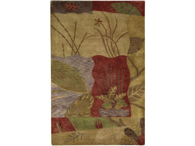 9' x 13' Asian Marsh Mulberry, Khaki and Stone Wool Area Throw Rug