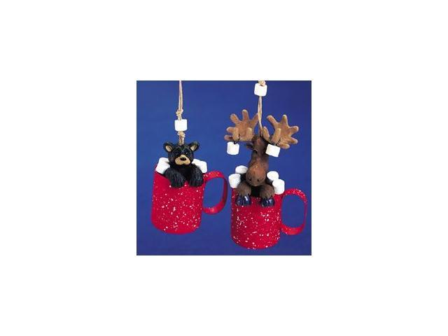 Club Pack of 12 Moose and Bear in Splatterware Mugs Christmas Ornaments