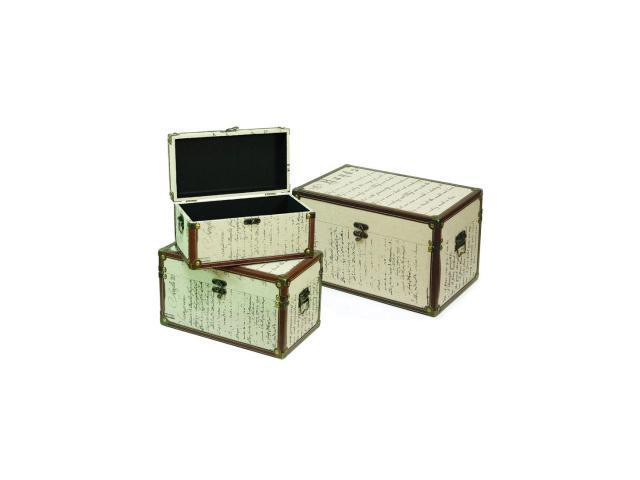 Set of 3 Renaissance Beige & Brown Print Linen Storage Boxes w/Faux Leather Trim