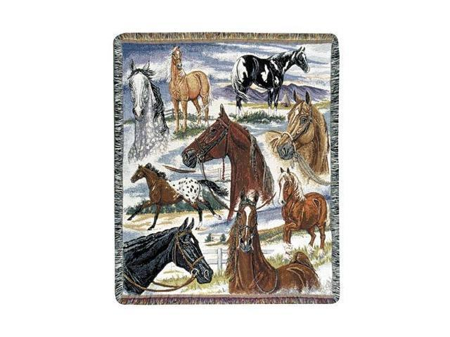 Horse Sense Horse Pictorial Tapestry Throw 50