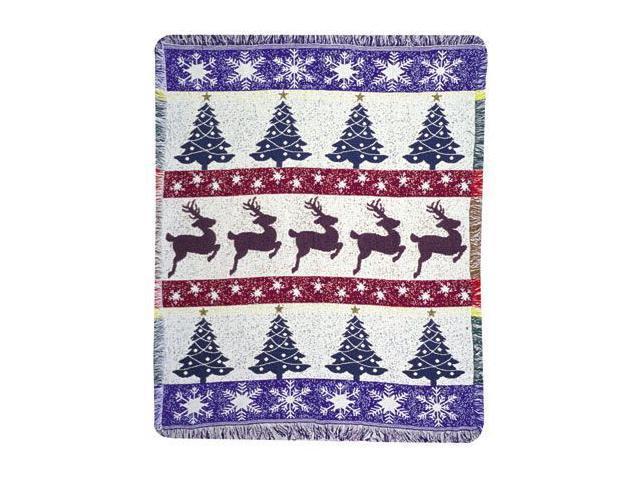 Prancing Reindeer & Christmas Trees Holiday Afghan Throw Blanket 48