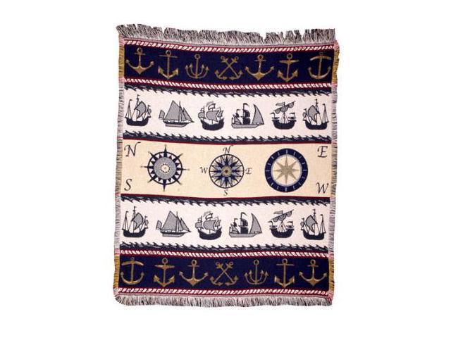 Mariner Time Nautical Afghan Throw Blanket 50