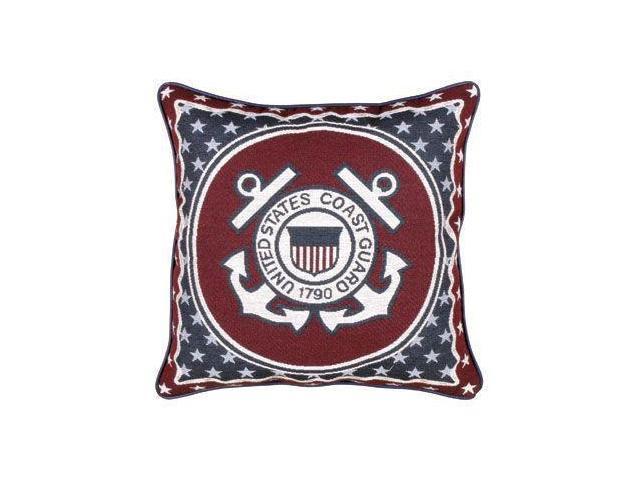 "United States Coast Guard Military Theme Decorative Throw Pillow 17"" x 17"""