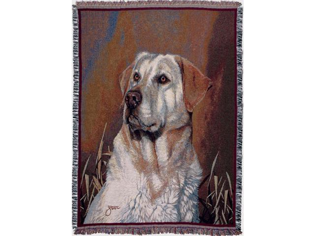 Yellow Lab Dog Face Portrait Tapestry Throw 50