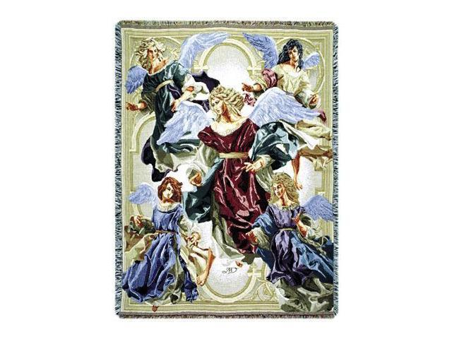 Angels of Hope Christmas Holiday Decorative Woven Afghan Throw Blanket 50