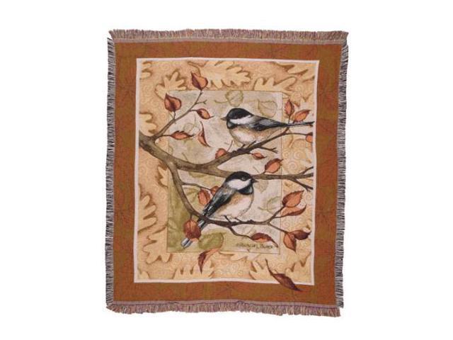 Autumn Chickadee Fall Birds Tapestry Throw Blanket 50