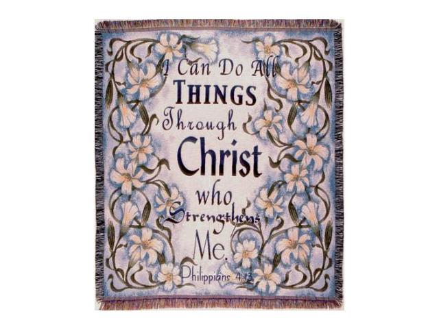 Philippians 4:13 Bible Verse Tapestry Throw Blanket 50