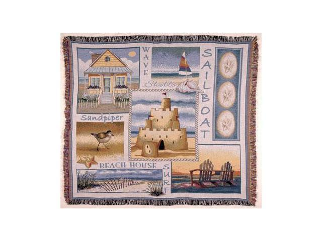 Sea and Shore Sand Castle Sand Dollar Tapestry Throw Blanket 50
