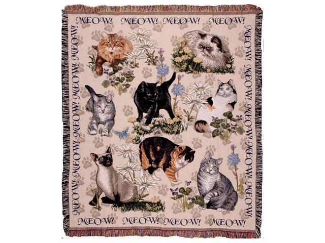 Meow Mix Playful Cat Collage Tapestry Throw 50