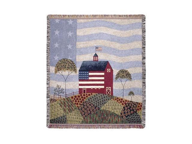 American Farm Pictorial Folk Art Tapestry Throw Afghan 50