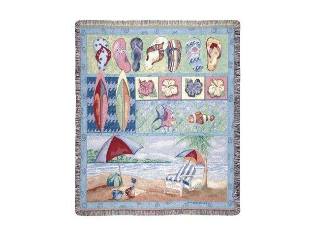 Tropical Flip Flops Beach Umbrella Fish Tapestry Throw Blanket 50