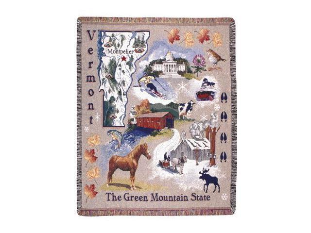 State of Vermont Retro Tapestry Throw Afghan 50