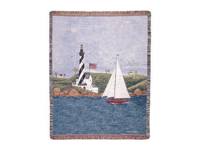 "Coastal Breeze Nautical Theme Folk Art Tapestry Throw Afghan 50"" x 60"""