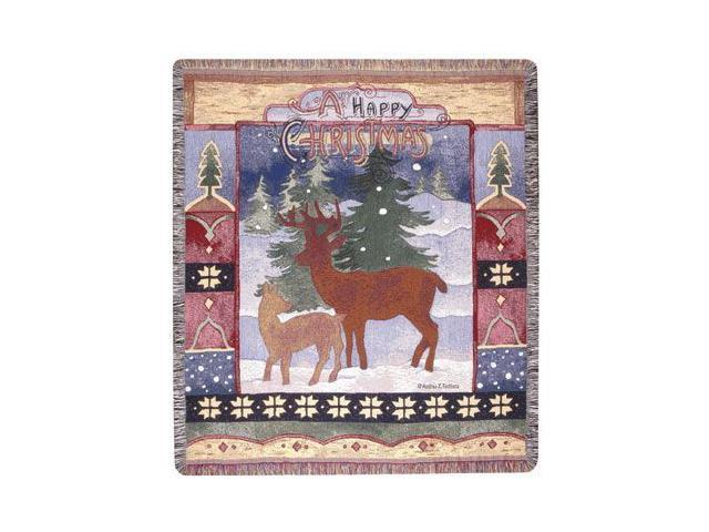 A Happy Christmas Holiday Tapestry Throw 50