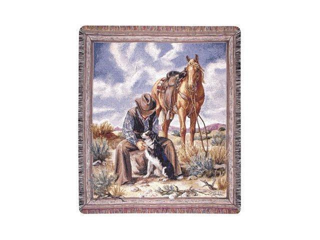 Cowboy Relaxing In Desert With His Horse & Dogs Tapestry Throw Blanket 50