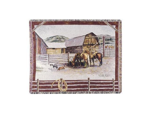 Serene Rustic Western Ranch & Animals Theme Tapestry Throw Blanket 50