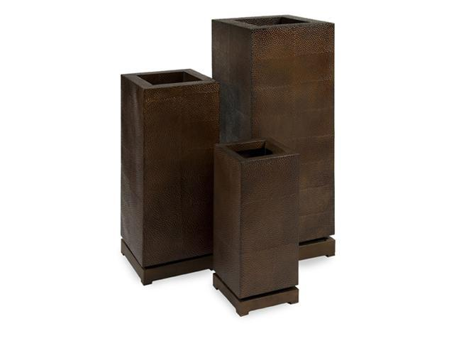 Set of 3 Textured Brown Adjustable Planters with Subtle Geometric Patterns 42