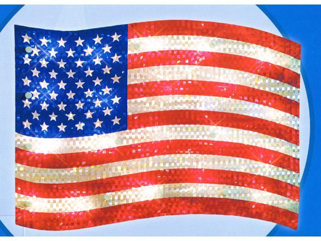 """16"""" Lighted Holographic Red, White and Blue American Flag Window Silhouette"""