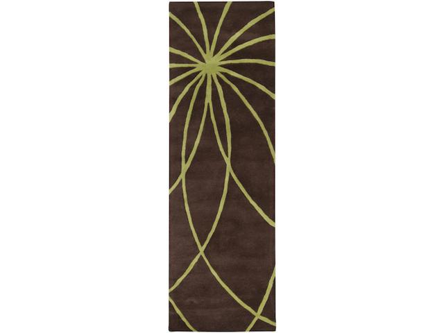 2.5' x 8' Plasma Elektra Contemporary Moss Green and Brown Wool Area Runner Rug