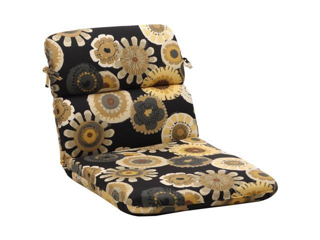 """40.5"""" Eco-Friendly Rounded Outdoor Chair Cushion - Black/Yellow Floral"""